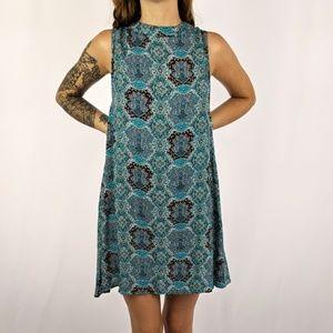 Umgee Blue Paisley Strapless Summer Dress
